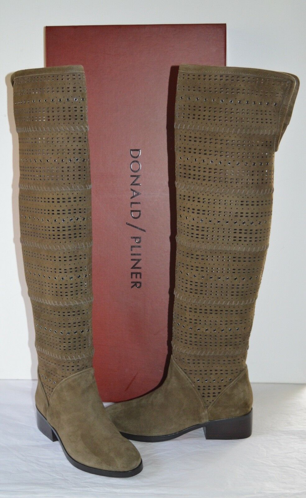 New  498 Donald J Pliner Devya-KS Khaki Kid Suede Riding Over the Knee Riding Suede Stiefel deae17