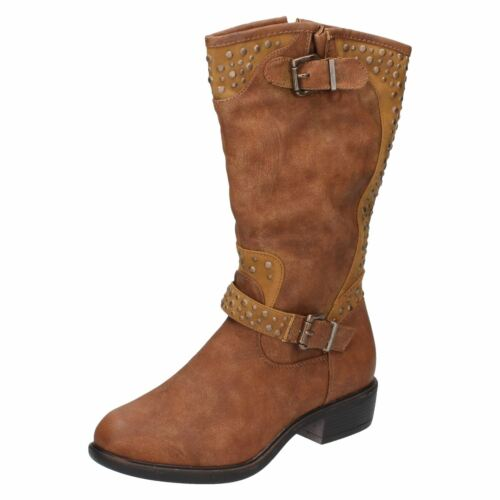 Calf High Boots Ladies CoCo Studded Buckle Detail