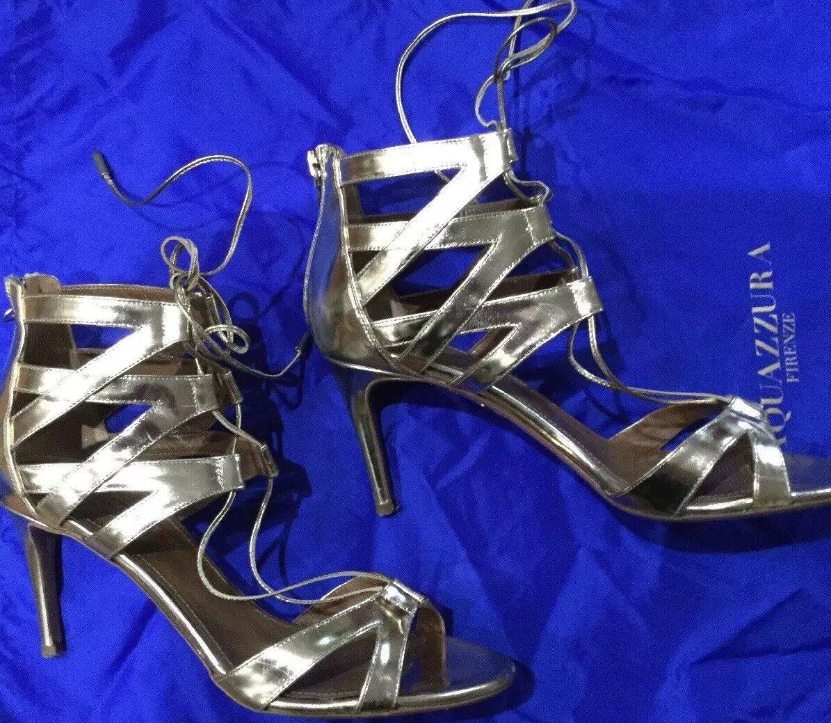 AQUAZURRA Beverly Hills Hills Hills 75 Metallic guld Sandals Storlek 8.5  IT 39 MSRP  750  Vi levererar det bästa
