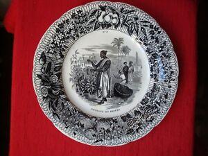 """""""recolte Du Poivre"""" Assiette Creil Montereau Entre 1849/1867"""