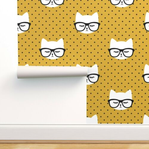 Peel-and-Stick Removable Wallpaper Cats Cat Faces Cute Trendy Baby Girl Mustard