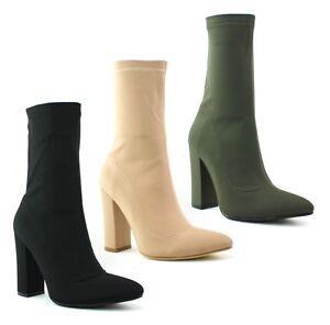 Senoras-MUJERES-Bloque-Talon-Tobillo-Alto-Botas-Zapatos-botas-de-lycra-elastico-talla-3-8