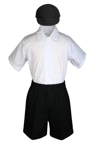 Baby Boys Toddler Formal Vest Shorts Suit Satin Vest Necktie 5pc Set //w Hat S-4T