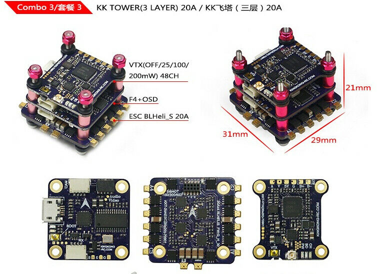LDARC KK F4+OSD 20A BLHELI-S 4in1 ESC 3 Layer KK Tower For FPV RC Drone F23416