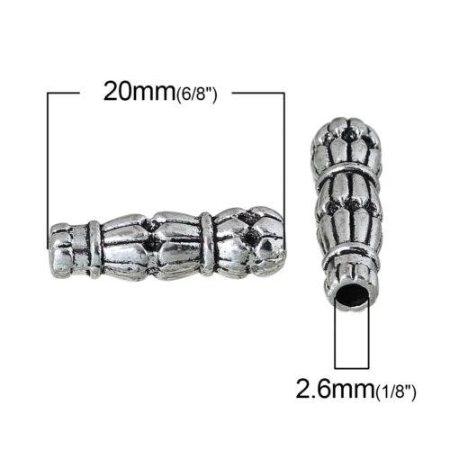 Metallperlen Röhrchen Spacer Antiksilber Streifen 20x6 mm 4x