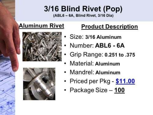 3//16 Aluminum Pop Rivet Blind