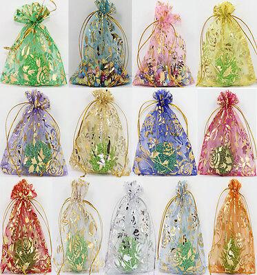 100Pcs Rose Flower Printed Organza Wedding Favor Gift Packaging Bags 9x7CM