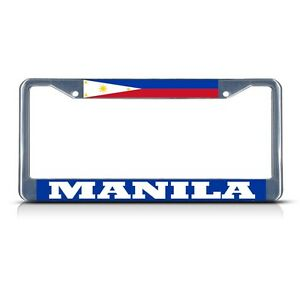 Philippines Flag Filipino Country Chrome Heavy Duty License Plate Frame Stainless Metal Tag Holder 12 X 6