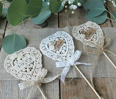 Crochet hearts WAND kit x 10 - WHITE