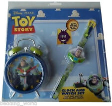 TOY STORY BUZZ WATCH & ALARM CLOCK GIFT SET FLIP TOP LIGHTYEAR BLUE GREEN KIDS