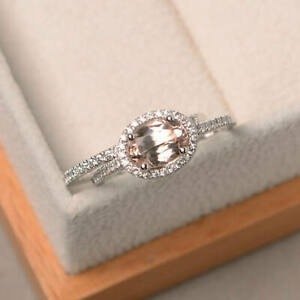 14K-Solid-White-Gold-Diamond-Rings-1-90-Ct-Oval-Cut-Morganite-Gemstone-Band-Sets