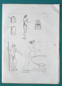 GREEK-DRESS-Female-Blouse-Undergarment-Athlete-1804-Antique-Copperplate-Print