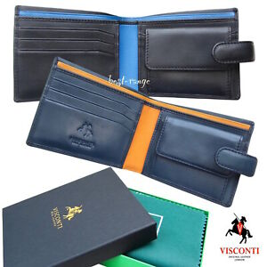 Mens-Soft-Leather-Wallet-Bifold-Cards-Notes-Coins-New-in-Gift-Box-Visconti-PM100