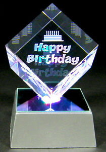 Laser Etched Crystal Happy Birthday Paperweight Display W