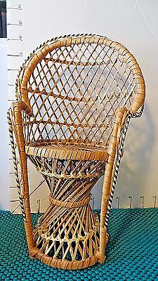 Chair, Wicker, Doll Chair, Craft Chair, Peacock Sultan Chair, 12""