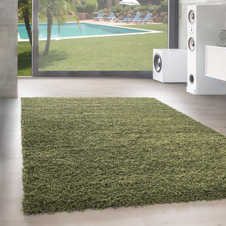 Hochflor Teppich Shaggy Langflor Uni Einfarbig Wohnzimmer Grün Günstig Oeko Oeko Oeko Tex a01ce2