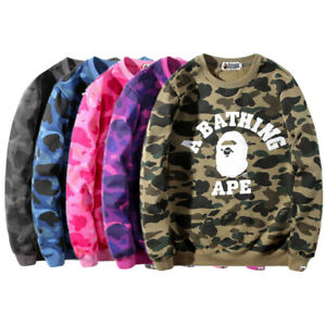 Men-039-s-Bape-A-Bathing-Ape-Hoodie-Camo-Pullover-Sweatshirt-Casual-Coat-Long-Sleeve