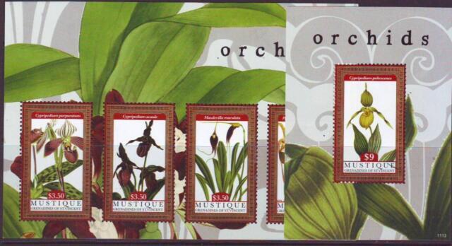 MUSTIQUE 2011 ORCHIDS  SHEETLET 4 + MINISHEET Pt .1  MINT NEVERHINGED