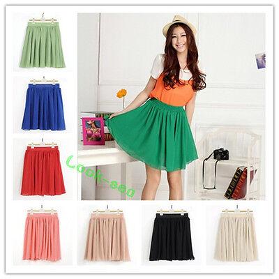 Lady Women Double Layer High Waist Pleated Short Chiffon Mini Summer Dress Skirt