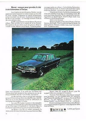 Publicite 1970 Rover V8 Roule à 200 Kms/h Exquisite In Workmanship