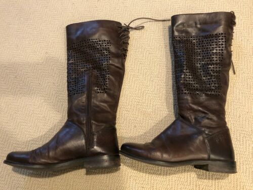 Matisse 6.5M brown perforated leather knee high fl