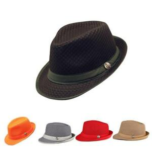 d0a96c897 Mesh Fedora hat Soft Cool Summer Classic Trilby Cuban Beach Sun Cap ...