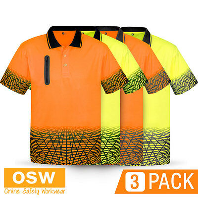 3 X HI VIS WORK DRY SAFETY SUBLIMATED PRINT TRADIES//BUILDER//WORK POLO SHIRTS
