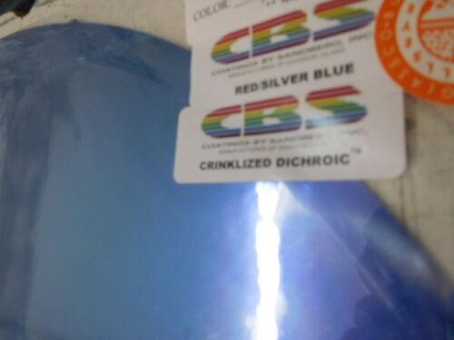 "Dichroic Glass Sheet:CBS Red//Silver//Blu Crinklized on Flat Thin Black 90COE 3/""Sq"