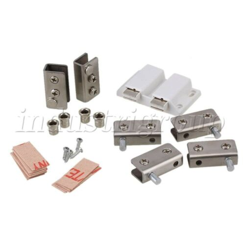 Stainless Steel Glass Door Pivot Hinges Clamp Magnetic Catch Set For 5-8mm Glass