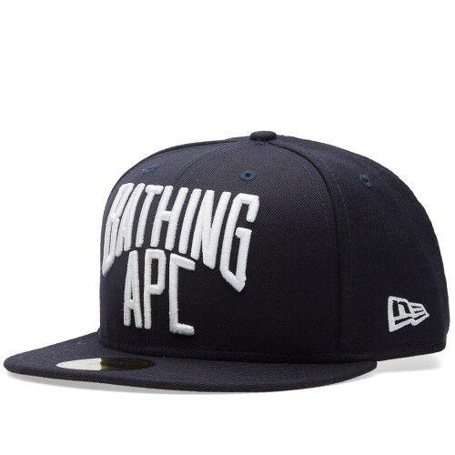 A BATHING APE NYC Navy LOGO NEW ERA CAP Navy NYC wool Men's Baseball Hat from Japan 7 1/2 9024e8