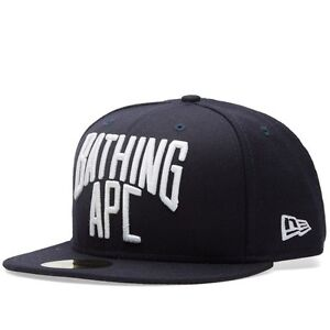 1cf12d8df82 A BATHING APE NYC LOGO NEW ERA CAP Navy wool Men s Baseball Hat from ...