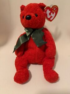 Mistletoe The Red Christmas Decoration Bear TY Beanie Baby Retired Plush NEW!