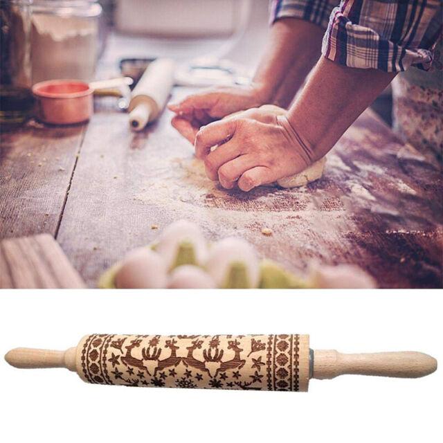 35cm Christmas Elk Print Rolling Pin Engraved Wood Embossing Embossed Xmas Gift