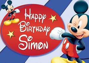 Large Birthday Mickey Mouse Birthday Poster Banner Personalised Any Name Text Ebay