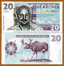 Norway, 20 Kroner, 2016 Private Issue Essay Specimen UNC > Erlend Loe, Moose