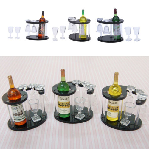MagiDeal 3 Set 1//12 Dollhouse Champagne Bottle Wine Rack Four Glass Cups