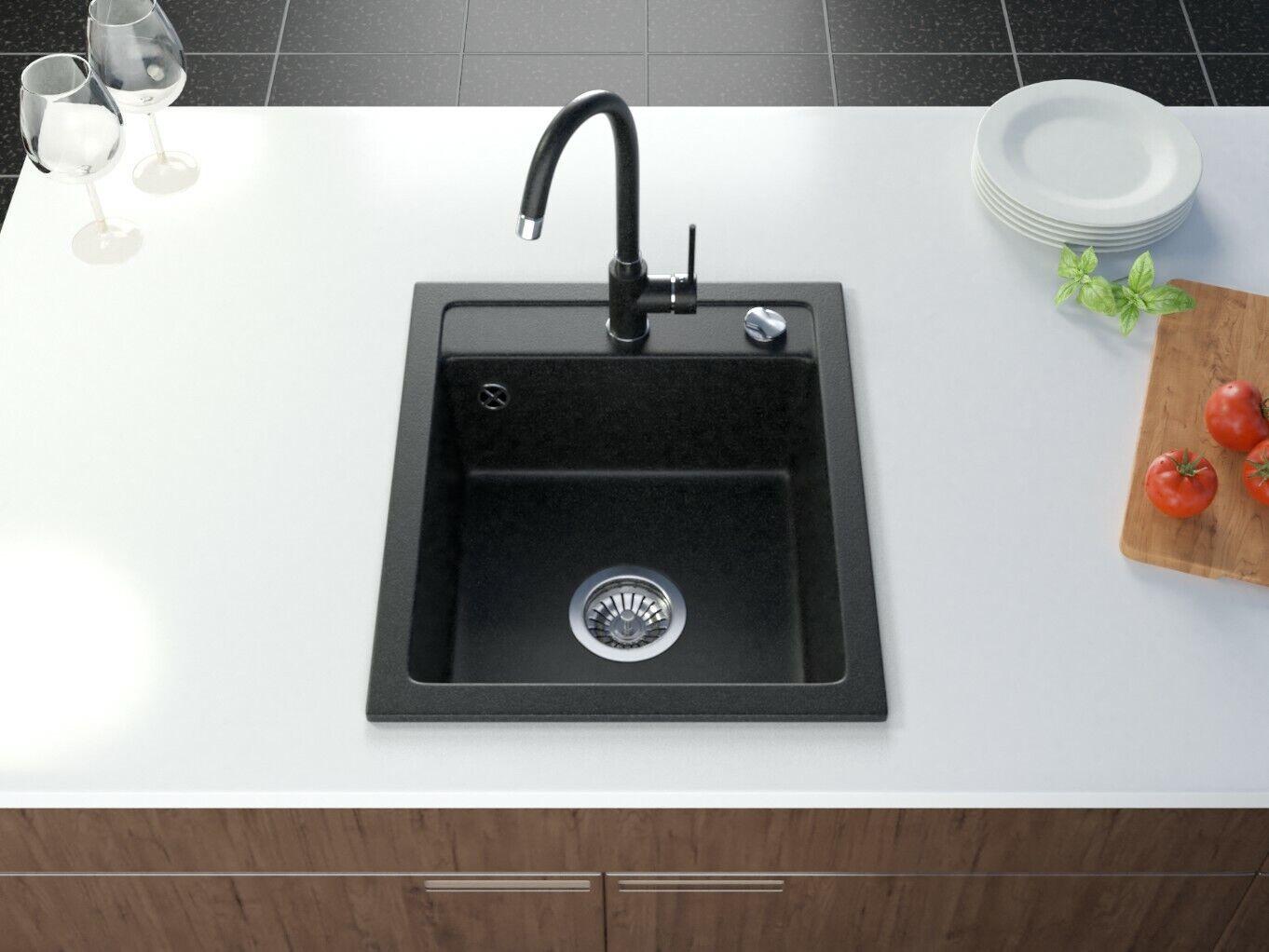 Kuchenspule Granit Schwarz Klein Einbauspule 50x46 Cm Spulbecken Granitspule Ebay