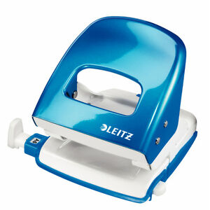 LEITZ-5008-10-36-Buerolocher-blue-metallic-with-Rail-for-30-Sheet-Hole-punch
