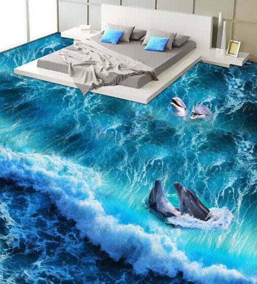 3D 3D 3D Storm Dolphins 56 Floor WallPaper Murals Wall Print 5D AJ WALLPAPER UK Lemon 210a33