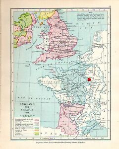 Map Of England To France.Details About Victorian Map England France In 1259 Henry Iii