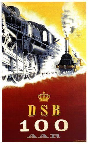 Danish Railways 100th Anniversary Poster A3 A2  Reprint