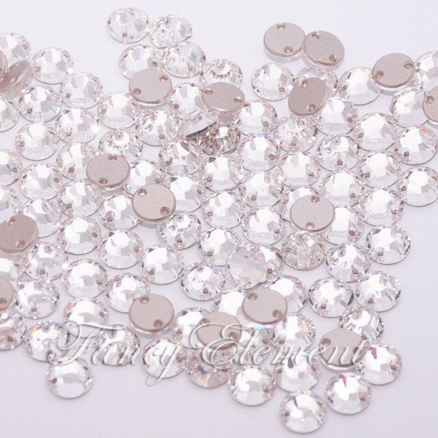 Swarovski Crystal Round 3204 Clear 8mm XILION Sew On Rhinestone Foiled Flatback