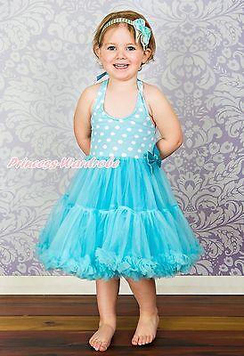 Blue White Polka Dots Party Dress Full Tutu Petti Girl Dress Pettiskirt 2-8Year