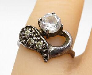 925-Sterling-Silver-Vintage-Topaz-Dark-Tone-Petite-Band-Ring-Sz-5-5-R10754