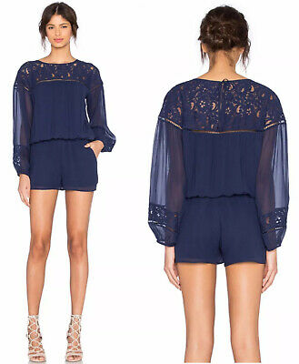 NWT $368 JOIE /'Jevin/' ROMPER Vintage Silk Lace Inset Long Sleeve Navy XS S L