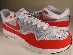Nike Air Max 1 Ultra Flyknit Grey University Red White SZ 8.5 ... 83d95211ec