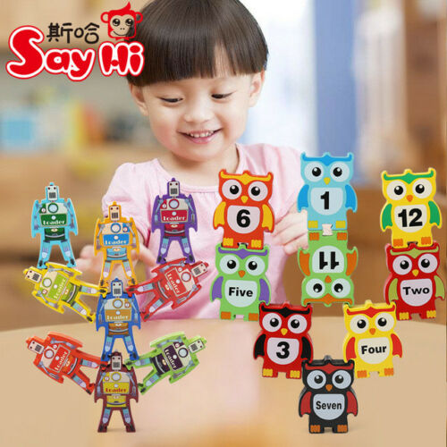 wooden toy wood balance robot loader owl number block Jenga game tower stacking