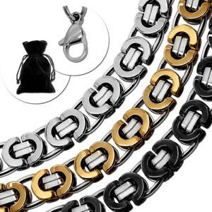 Flache-Koenigskette-Edelstahlkette-Panzerkette-Herren-Halskette-Armband-Silbern