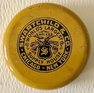 Antique-WATCH-amp-JEWELRY-SWARTCHILD-WATCHMAKER-JEWELER-Advertising-TIN-Chicago-NY