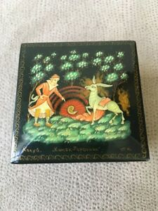 Russian Black Lacquer Box  Ring Box  Jewelry Box Trinket Box